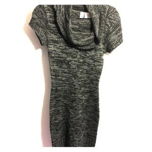 Sweater dress with swoop neck line